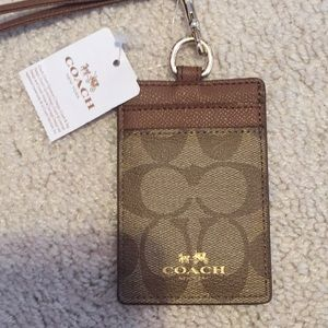 Coach card holder with lanyard- NEW WITH TAGS